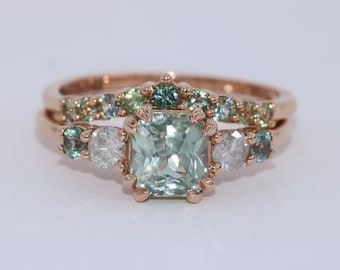 Five Stone Teal Green Sapphire Rings Set