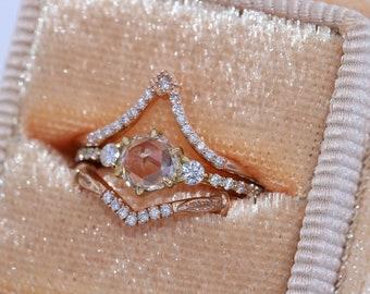 Three Stone Rose Cut White Sapphire and Diamond Engagement Ring, Custom Made 3 Stone Engagement Ring