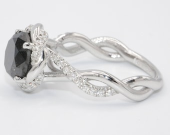 Black Diamond Engagement Ring, white gold wedding ring, Twisted ring, Braided halo ring, Infinity ring designed by Irina
