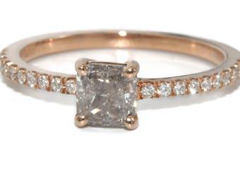 Gray Salt and Pepper Diamond Ring, 14k Rose Gold Grey Diamond Ring, Rustic Diamond Engagement Ring, Boho Wedding Proposal Ring, OOAK Ring