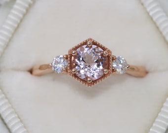 3 Stone Ring, 3 stone Morganite Ring, Alternative Engagement Ring, Three Stone Ring, Hexagon Engagement Ring, Finger Size 6, Ready To Ship