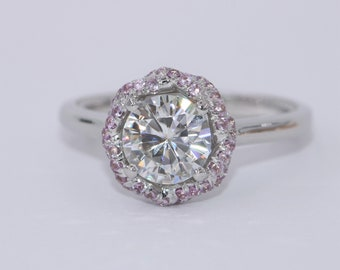 1 carat Moissanite Engagement Rings Set with Pink Sapphires Braided Halo