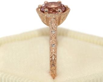 Hexagon Morganite Rose Gold Engagement Ring, Hand Engraved Wedding Ring, Edwardian Style Dainty Hexagon Ring