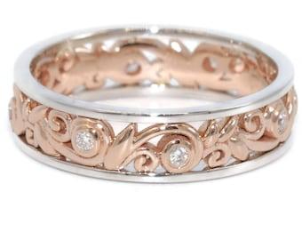 Rustic Leaf Eternity Wedding Ring, Two Tone White Rose Gold Boho Wedding Diamond Band, Mixed Gold Organic Nature Woodland Wedding Band