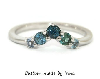 Chevron Nesting Wedding Band, Cluster Colorful Ombre Sapphires Wedding Band
