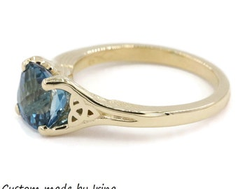 Celtic Knot Angel Wings London Blue Topaz Ring by Irina