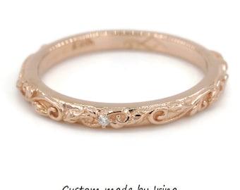 Rustic Leaf Filigree Vintage Scroll Wedding Ring, twig ring, branch wedding band, organic nature ring, leaf ring
