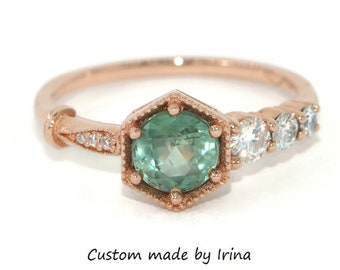 Teal Montana Sapphire Ring, 1 carat Montana Sapphire Engagement Ring, One Of A Kind Cluster Ring, Teal Green Sapphire Hexagon Ring
