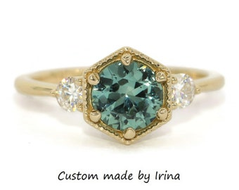 Montana Sapphire Engagement Ring, Setting ONLY, Teal Hexagon Sapphire Ring, 3 Stone Ring, Custom Made Hexagon Blue Green Sapphire Ring