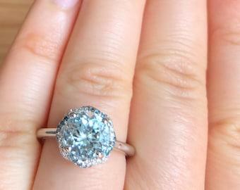 Aquamarine engagement ring, Alternative Engagement Ring, teal blue diamond ring, infinity halo white gold ring, aqua ring, aquamarine rings