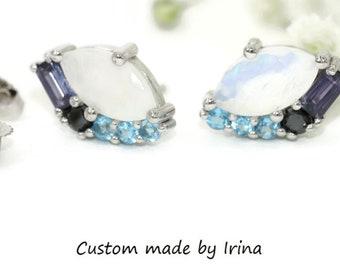 Moonstone Cluster Celestial Stud Earrings by Irina