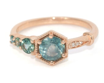 Teal Montana Green Hexagon Sapphire Vintage Edwardian Cluster Engagement Ring, One Of A Kind Unique ring, Boho Natural Green Sapphire Ring