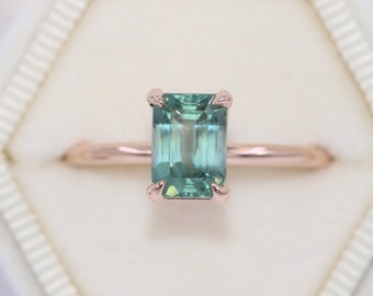 Montana Sapphire Engagement Ring, Custom Made Unheated Natural Montana Ring, SETTING ONLY, 14k Gold Teal Blue Green Mermaid Sapphire Ring