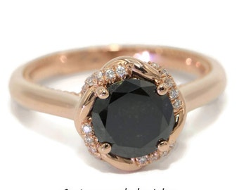 Black diamond engagement ring, Rose gold boho ring, Entwined Ring, infinity ring, twisted ring, bohemian promise ring, black diamond ring