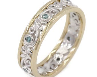 Leaf Vine Filigree Wedding Band, Two tone mixed white yellow gold wedding ring, Teal Blue Diamond Eternity Ring, Rustic Wedding Band