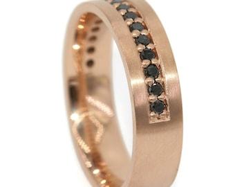 Black Diamond Wedding Band for Him, Custom Made Wedding Ring, Unisex Wedding Band, 14k Rose Gold Eternity Wedding Band