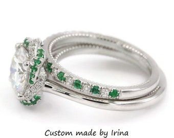 Moissanite Engagement Ring Set, One Of A Kind Meaningful Wedding Set, Interwoven Diamond Emerald Halo Ring + Matching Stacking Wedding Band