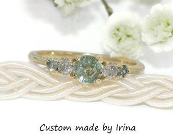Custom Made Pastel Green Montana Sapphire 5 Stone Engagement Ring
