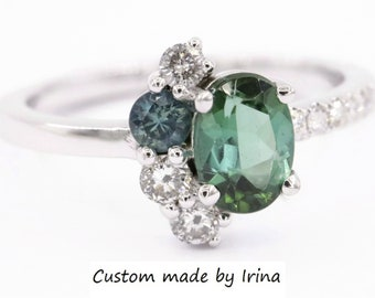 1 carat Oval Green Tourmaline Ring, Cluster Engagement Ring, Sea Foam Teal Tourmaline Ring, Celestial Half-Moon Crescent Ring, Unique Ring