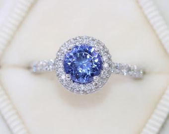 Custom Made Tanzanite Engagement Ring, Diamond Halo Engagement Ring