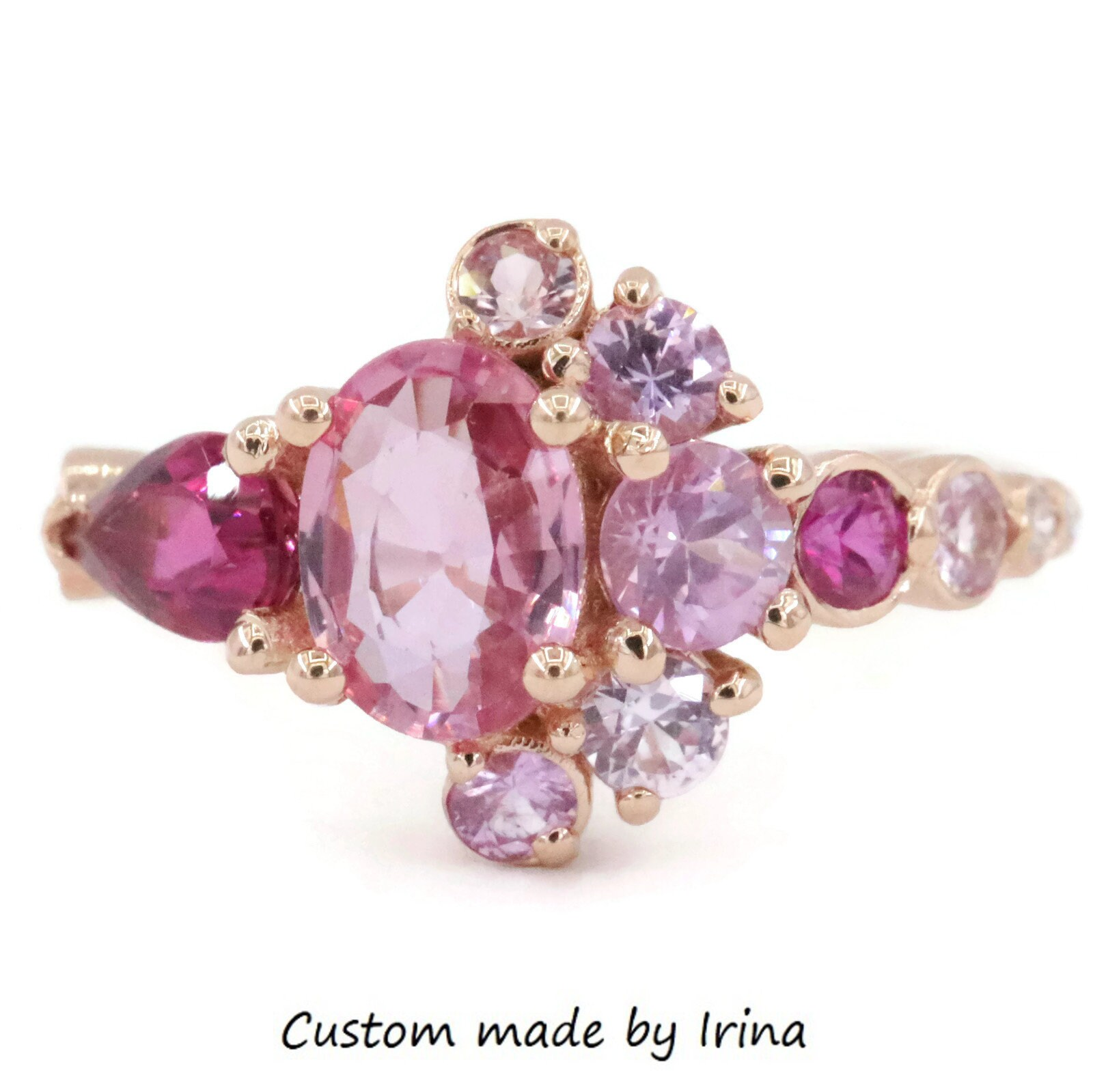Rose Gold Pink Sapphire Cluster Engagement Ring by Irina