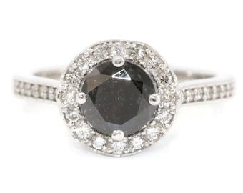 Black Diamond Engagement Ring, Daisy Flower Engagement Ring, Black Diamond Wedding Ring, Diamond Halo White Gold Promise Ring by Irina