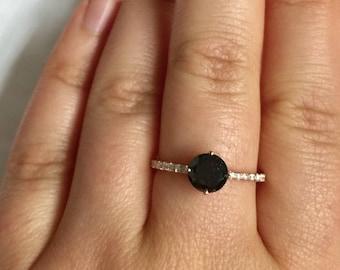 Black diamond rose gold engagement ring, dainty classic solitaire diamond engagement ring, round black diamond ring by Irina