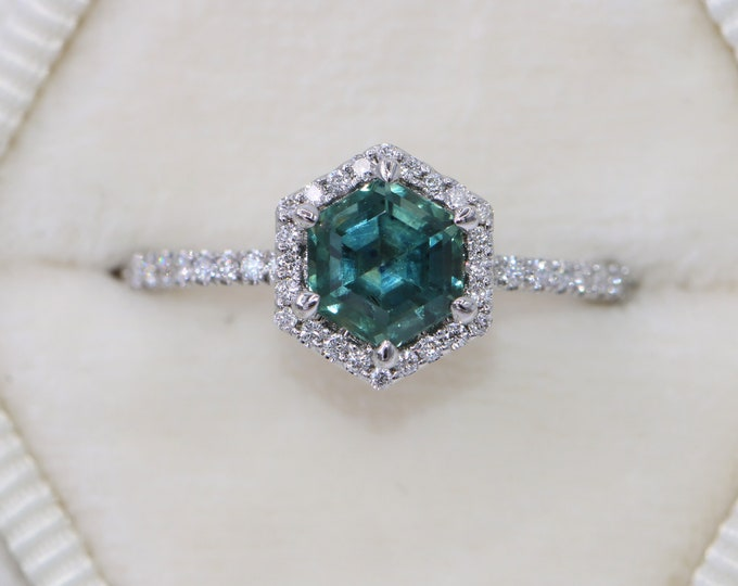 Featured listing image: Teal Hexagon Sapphire Ring, Blue Green Montana Sapphire Ring, Mermaid Hexagon Engagement Sapphire Ring, 1 carat Montana Sapphire Ring