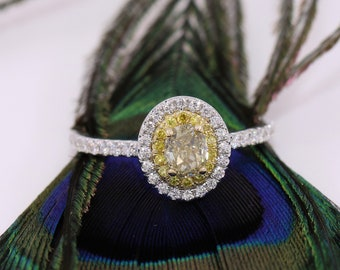 Natural Yellow Diamond Engagement Ring, Not Treated Yellow Diamond Ring, Natural Diamond Wedding Ring, Intense Yellow Diamond Ring