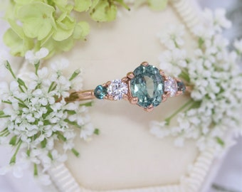 5 Stone Teal Blue Green Sapphire Ring, 1 carat Oval Pastel Green Montana Sapphire Ring