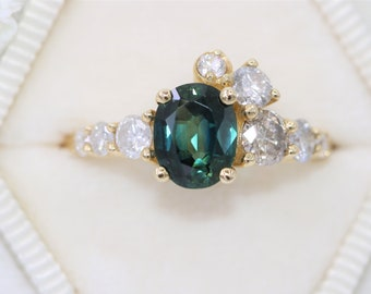 Blue Green Sapphire Engagement Ring, 2 ct Oval Peacock Sapphire Unique Ring, Parti Sapphire Cluster Ring, Ready To Ship Ring, Size 7.5