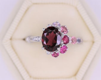 Celestial Half-Moon Crescent Ring, Unique Ring, Oval Garnet Ring, Unique Ombre One of a kind Cluster ring, Vintage Inspired Asymmetric Ring