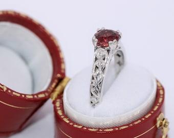 Scroll Lace Organic Leaf Cherry Pink Tourmaline Engagement Ring by Irina