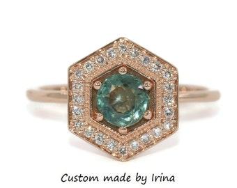Hexagon Montana Sapphire Ring, Teal Blue Green Unheated Montana Sapphire Ring, Pastel Sapphire Ring