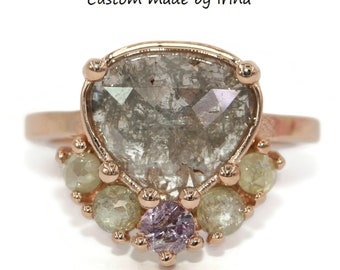 Rose Cut Gray and Pink Diamond Engagement Ring by Irina