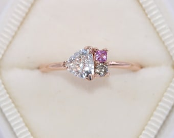 Trillion Cluster Ring, Colorful Ombre Pink Sapphire and Champagne Diamond Ring, Asymmetrical One Of A Kind Ring