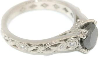 Black Diamond ring, Platinum ring, Engagement ring, leaf ring, black diamond engagement ring, promise ring, nature ring, filigree ring
