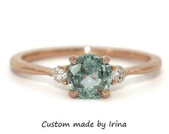 1 carat Round Light Blue Sapphire Ring, Montana Sapphire Ring, 3 Stone Sapphire Ring, Three Stone Diamond and Pastel Sapphire Ring