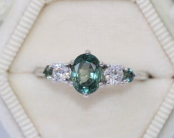 Setting ONLY, Montana Sapphire Engagement Ring, Teal Sapphire Ring, 5 Stone Ring, Custom Made Blue Green Montana Sapphire Ring