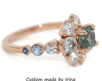 Pastel Teal Montana Sapphire Ring, Sun and Moon Cluster Ombre Engagement Ring