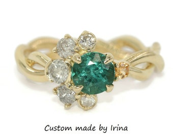 Sun and Moon Ring, Teal Blue Green Tourmaline + Grey Diamonds Cluster Engagement Ring