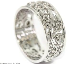 Vine Leaf Pattern Wedding Band, Rustic Leaf Ring, Diamond Eternity Band, Lace Pattern Ring, Scroll Filigree Wedding Eternity Ring