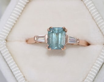 Custom Made Three Stone Ring, Natural Teal Montana Sapphire Ring, Emerald Sapphire Ring, Baguette Diamond Vintage Style Ring, 3 stone Ring