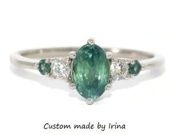 Montana Sapphire Engagement Ring, Setting ONLY, Teal Sapphire Ring, 5 Stone Ring, Custom Made Blue Green Montana Sapphire Ring