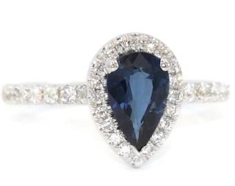 Blue sapphire ring, Diamond engagement ring, Teardrop Ring, diamond Wedding Ring, Pear Ring