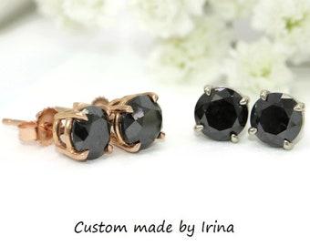 Black Diamond stud earrings, Black Diamond Earrings, 2 carat black diamond studs, 2 ct black diamond studs, Ready To Ship