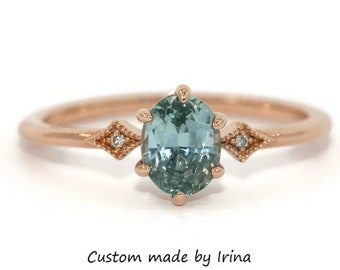 SETTING ONLY, Edwardian Style Teal Sapphire Ring, 14k Gold Diamond and Blue Green Sapphire Ring, Custom Made Teal Montana Sapphire Ring