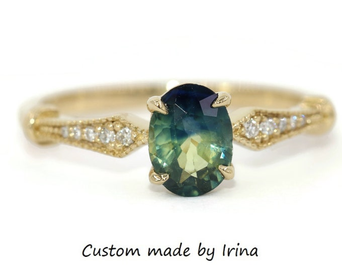 Featured listing image: Parti Sapphire Engagement Ring, Blue Green Sapphire Ring, Custom 14k Vintage + Edwardian Style Inspired Ring