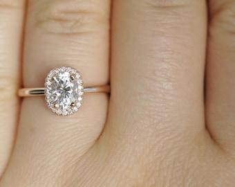 Oval Diamond Engagement Ring, Forever One Moissanite Ring, Rose Gold Wedding Ring, FO Moissanite Engagement Ring