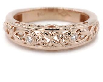 Leaf Vine Scroll Filigree Rose Gold Diamond Rustic Wedding Ring, Euro shank pink gold engagement wedding band, Organic Nature Inspired Band